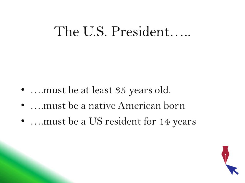 The U.S. President….. ….must be at least 35 years old.