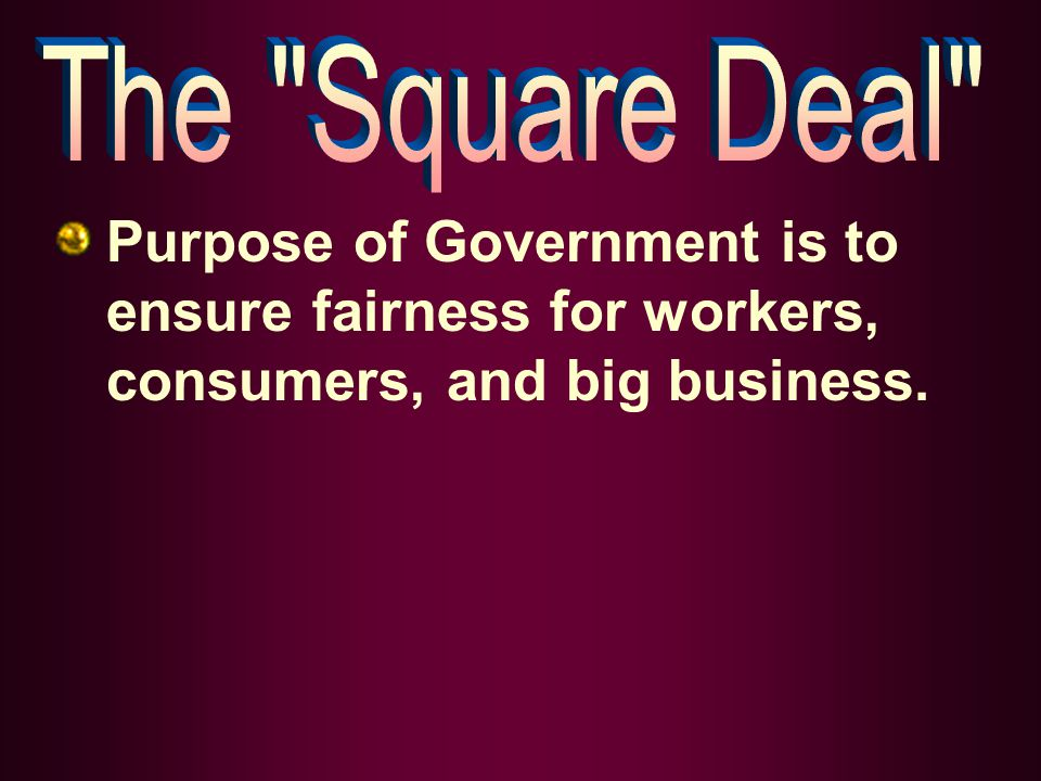 Purpose of Government is to ensure fairness for workers, consumers, and big business.