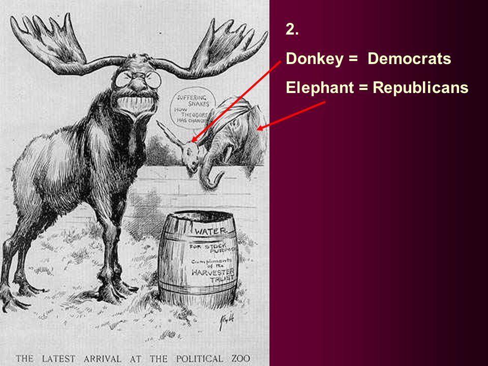 2. Donkey = Democrats Elephant = Republicans
