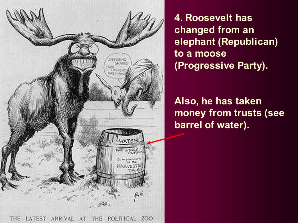 4. Roosevelt has changed from an elephant (Republican) to a moose (Progressive Party).