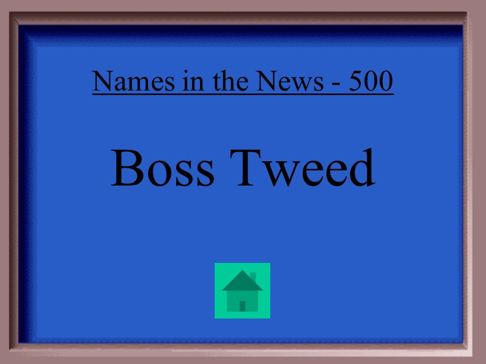 Names in the News - 500 He was boss of Tammany Hall, the political machine that ruled New York.