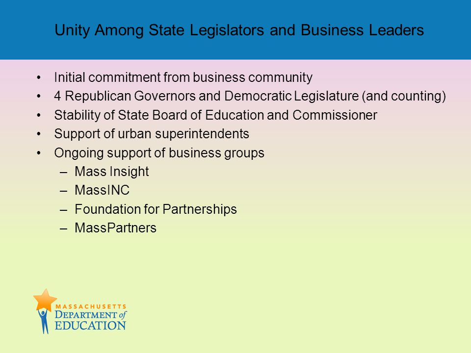 Unity Among State Legislators and Business Leaders Initial commitment from business community 4 Republican Governors and Democratic Legislature (and c
