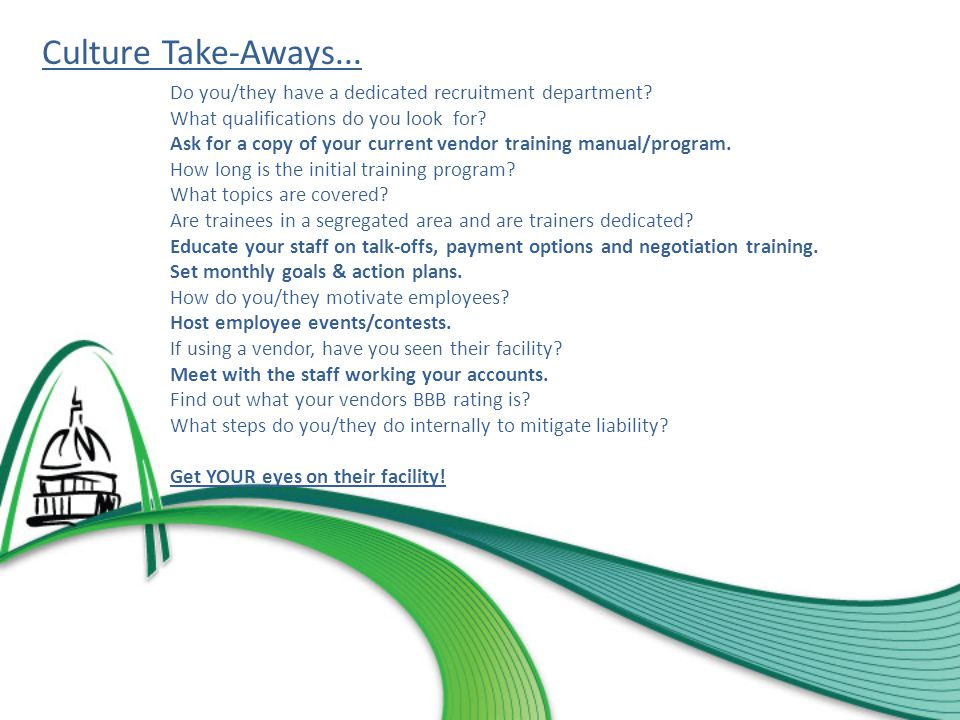 Culture Take-Aways... Do you/they have a dedicated recruitment department.