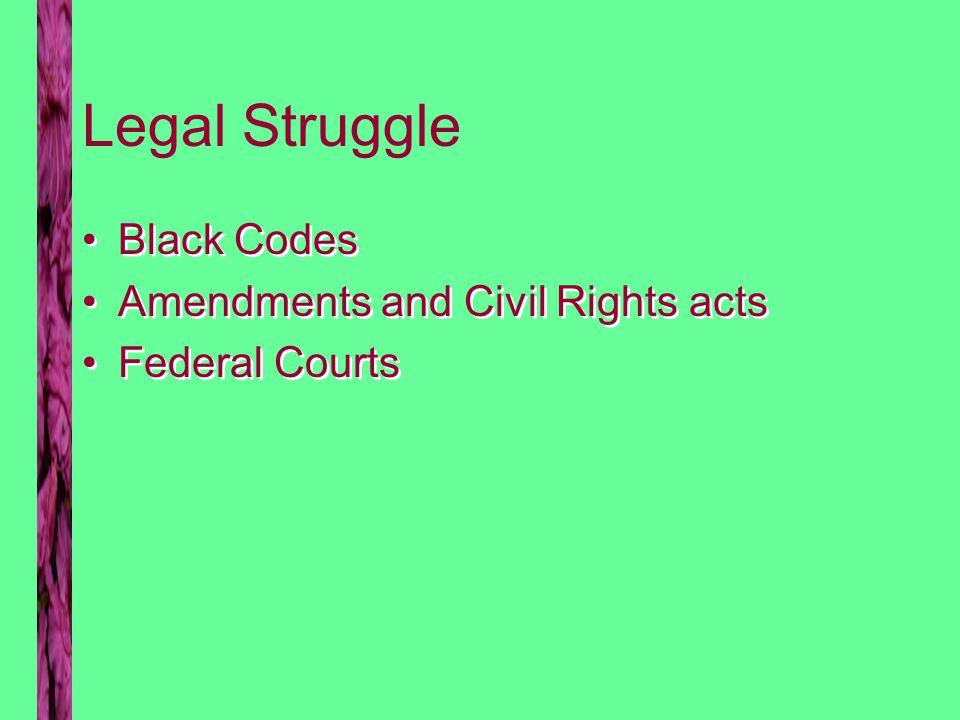Black Codes Establish indentured servitude Limit black political action Establish indentured servitude Limit black political action
