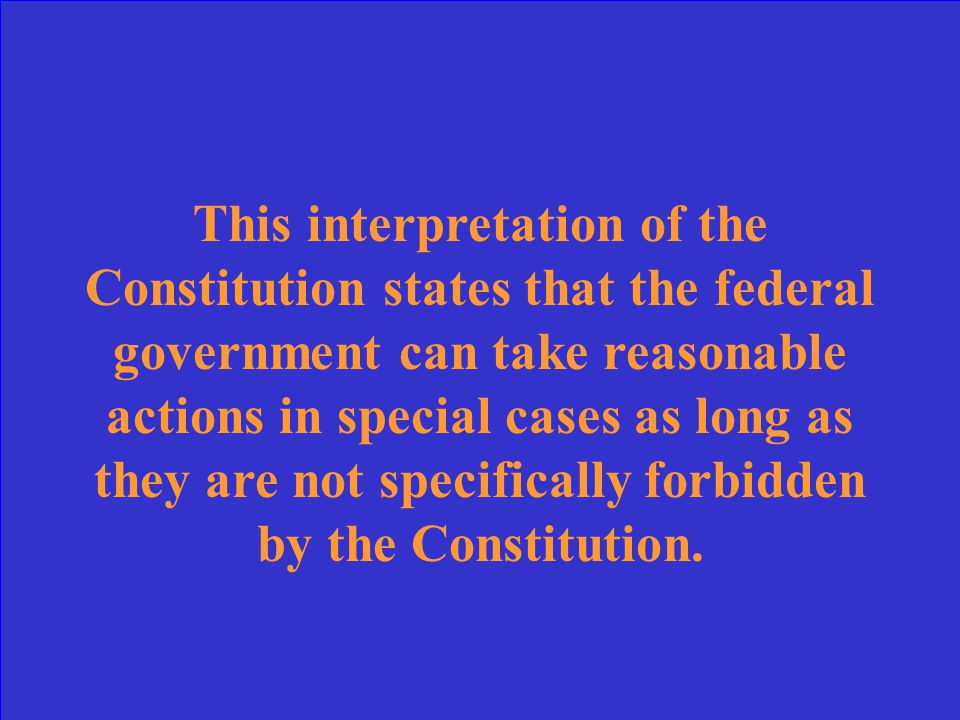 What is the federal government's lack of authority to create a bank (unconstitutional)?