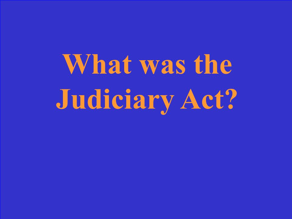 This 1789 Act created the courts and defined the powers of the Judiciary Branch.
