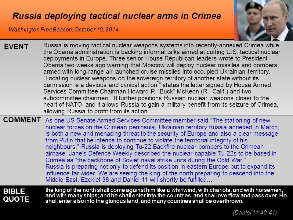 Russia deploying tactical nuclear arms in Crimea Russia is moving tactical nuclear weapons systems into recently-annexed Crimea while the Obama administration is backing informal talks aimed at cutting U.S.