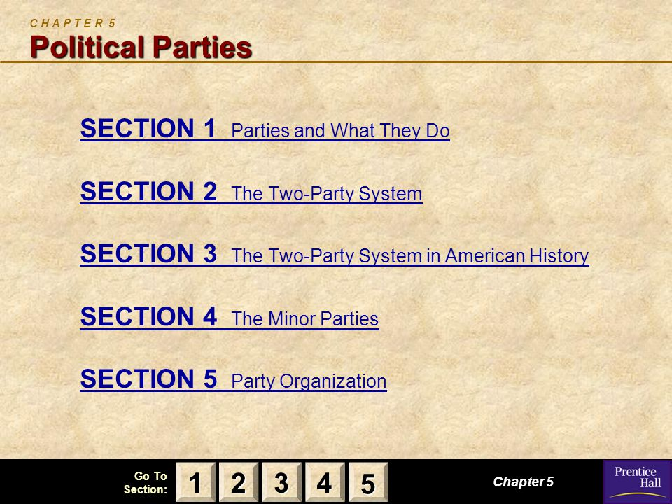 123 Go To Section: 4 5 Political Parties C H A P T E R 5 Political Parties SECTION 1 Parties and What They Do SECTION 2 The Two-Party System SECTION 3