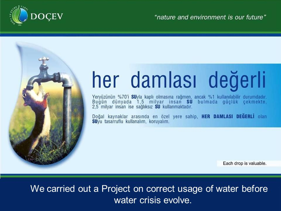 We carried out a Project on correct usage of water before water crisis evolve.