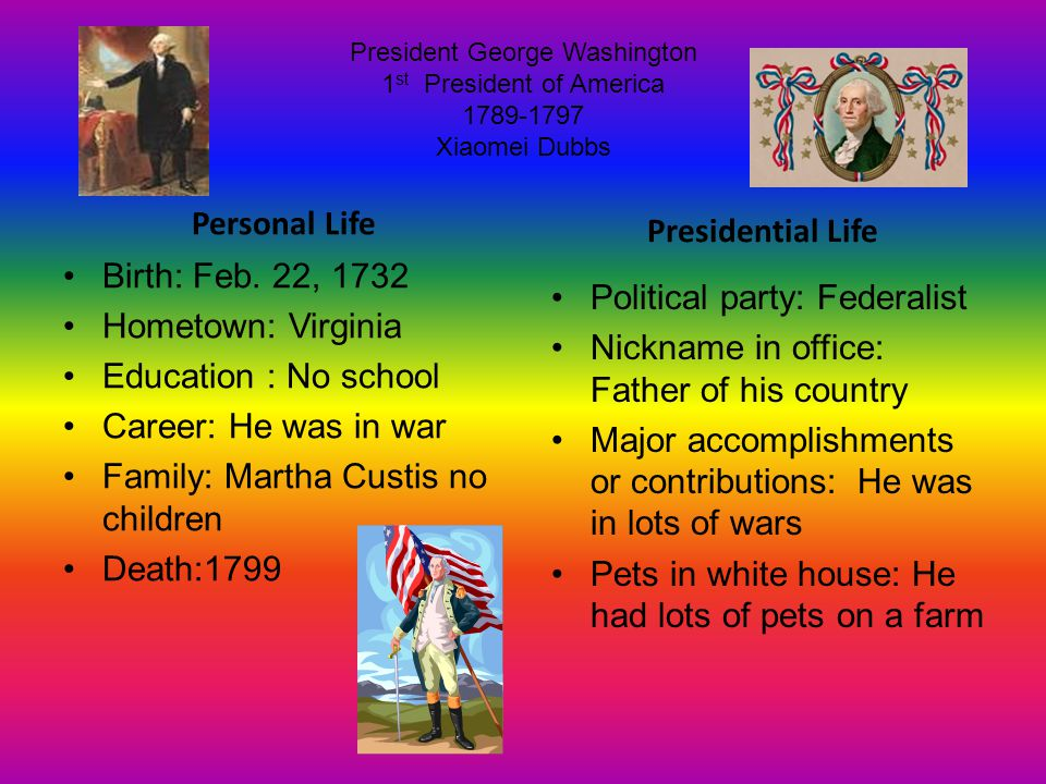 President George Washington 1 st President of America 1789-1797 Xiaomei Dubbs Personal Life Birth: Feb.