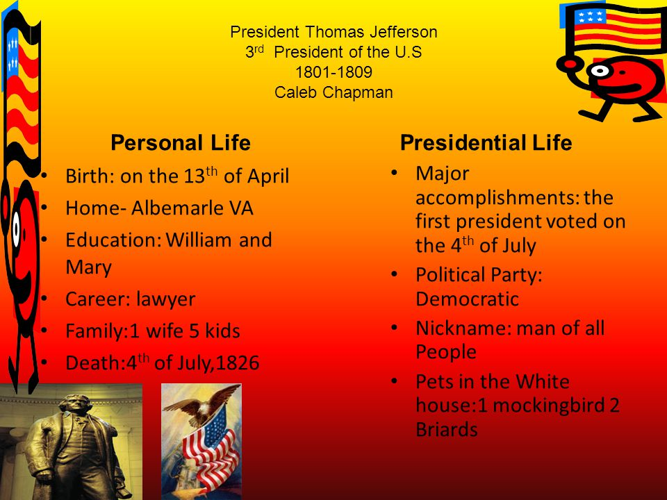 President Thomas Jefferson 3 rd President of the U.S 1801-1809 Caleb Chapman Personal Life Birth: on the 13 th of April Home- Albemarle VA Education: William and Mary Career: lawyer Family:1 wife 5 kids Death:4 th of July,1826 Presidential Life Major accomplishments: the first president voted on the 4 th of July Political Party: Democratic Nickname: man of all People Pets in the White house:1 mockingbird 2 Briards