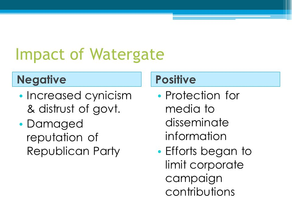 Impact of Watergate Negative Positive Increased cynicism & distrust of govt. Damaged reputation of Republican Party Protection for media to disseminat