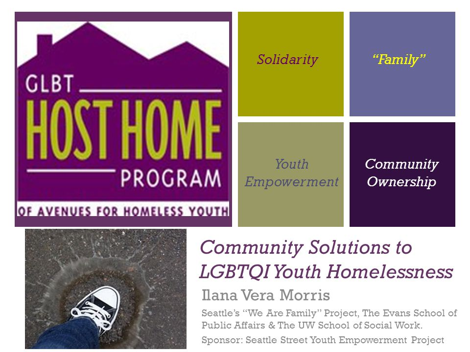 Take-Aways: Problem: Disproportional & Dangerous Traditional Programs are not sufficient for LGBTQI youth GLBT Host Home Program: Evaluation proves this model to be effective Seattle: Adopting this approach here