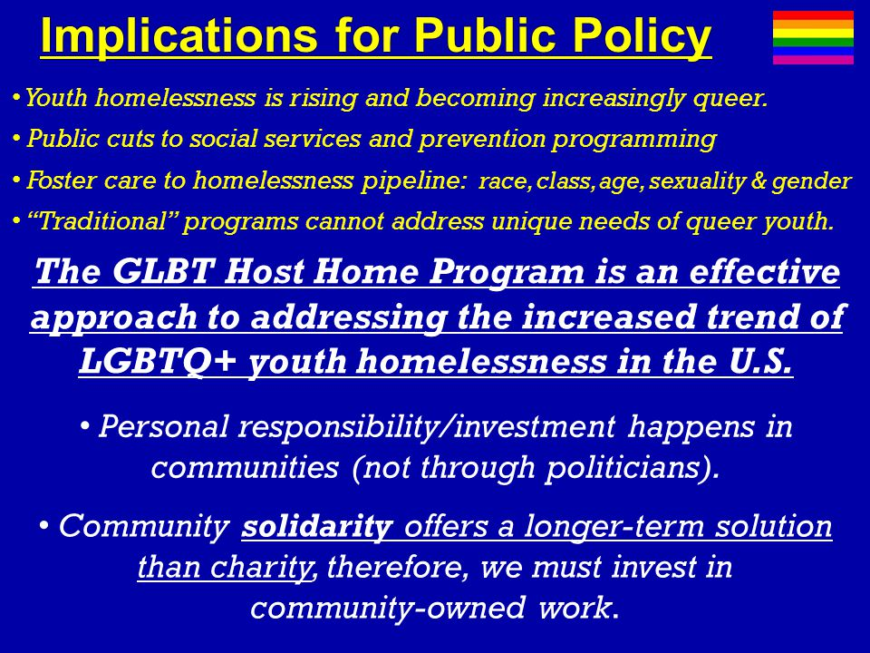 Implications for Public PolicyImplications for Public Policy Youth homelessness is rising and becoming increasingly queer.