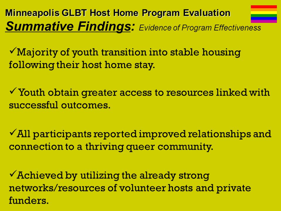 Majority of youth transition into stable housing following their host home stay.