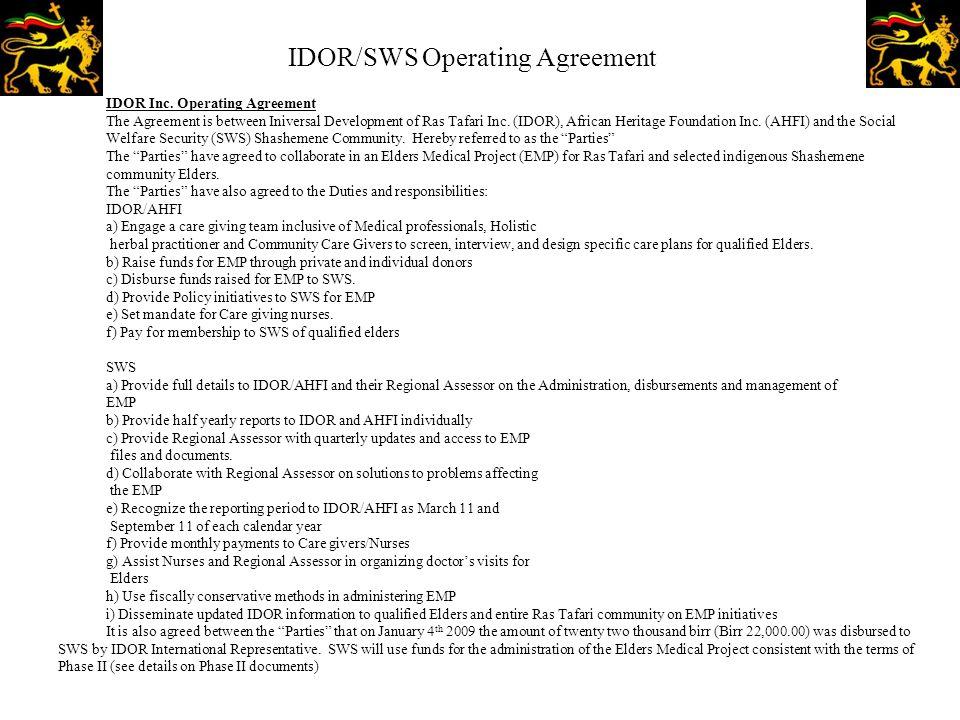 IDOR/SWS Operating Agreement IDOR Inc.
