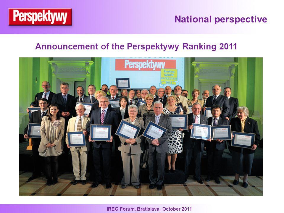 IREG Forum, Bratislava, October 2011 National perspective Announcement of the Perspektywy Ranking 2011