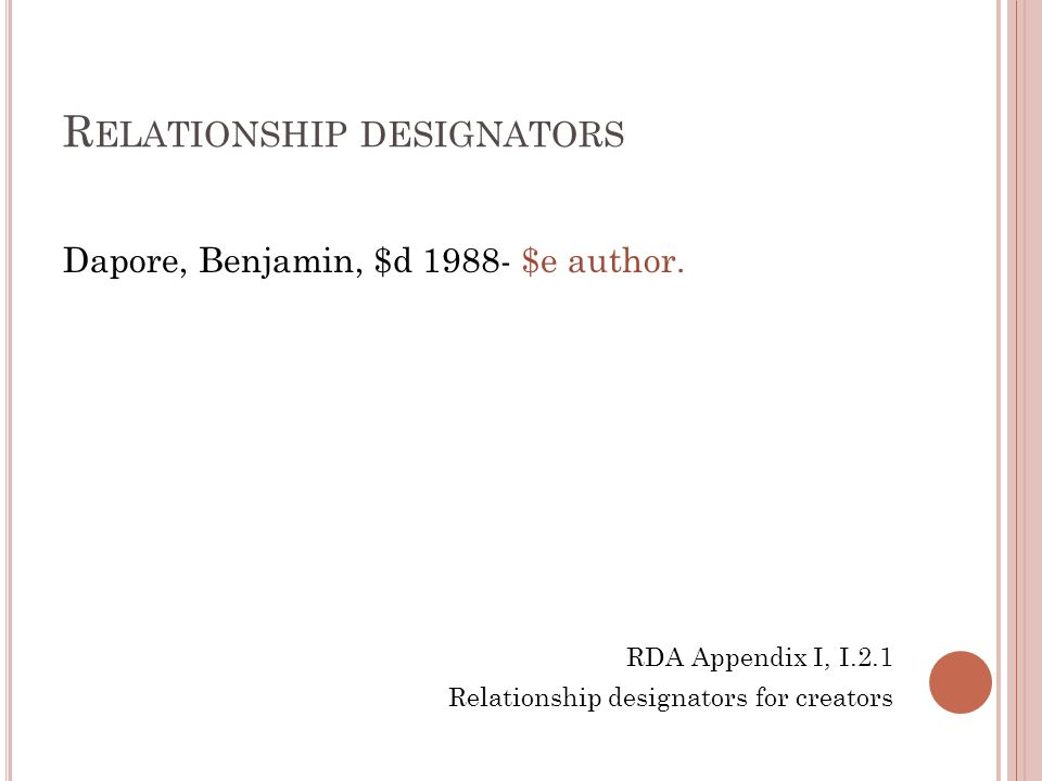 R ELATIONSHIP DESIGNATORS Dapore, Benjamin, $d 1988- $e author.