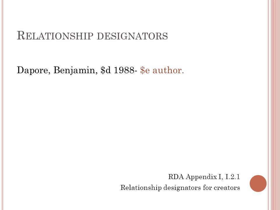 R ELATIONSHIP DESIGNATORS Dapore, Benjamin, $d 1988- $e author. RDA Appendix I, I.2.1 Relationship designators for creators