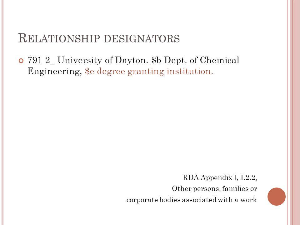 R ELATIONSHIP DESIGNATORS 791 2_ University of Dayton. $b Dept. of Chemical Engineering, $e degree granting institution. RDA Appendix I, I.2.2, Other