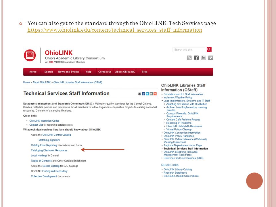 You can also get to the standard through the OhioLINK Tech Services page https://www.ohiolink.edu/content/technical_services_staff_information https:/