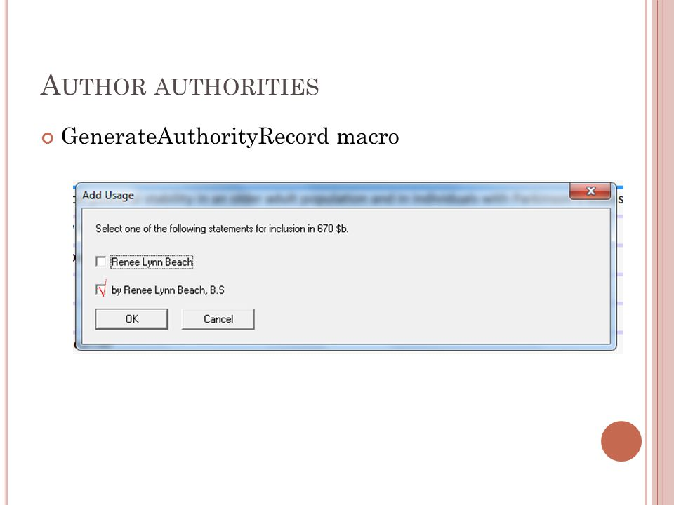 GenerateAuthorityRecord macro √