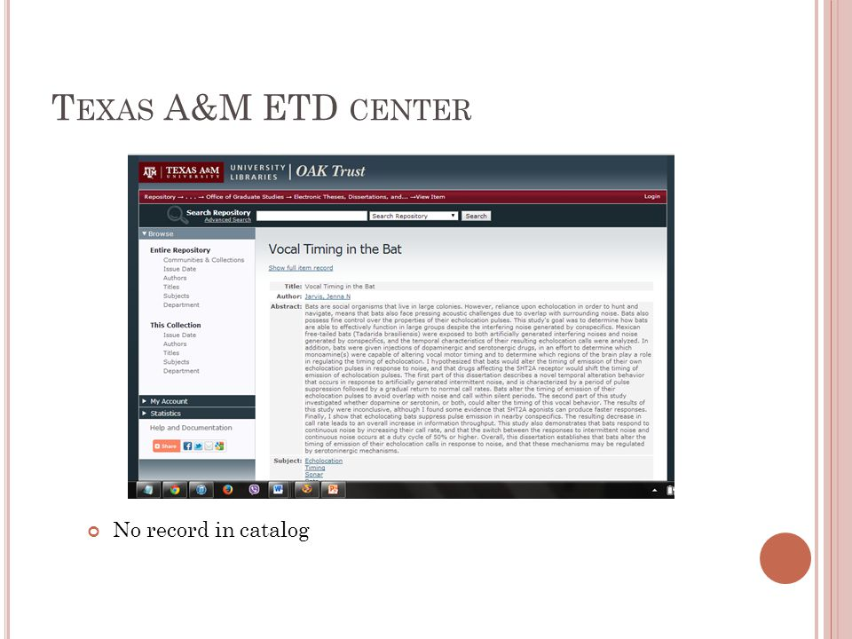 T EXAS A&M ETD CENTER No record in catalog