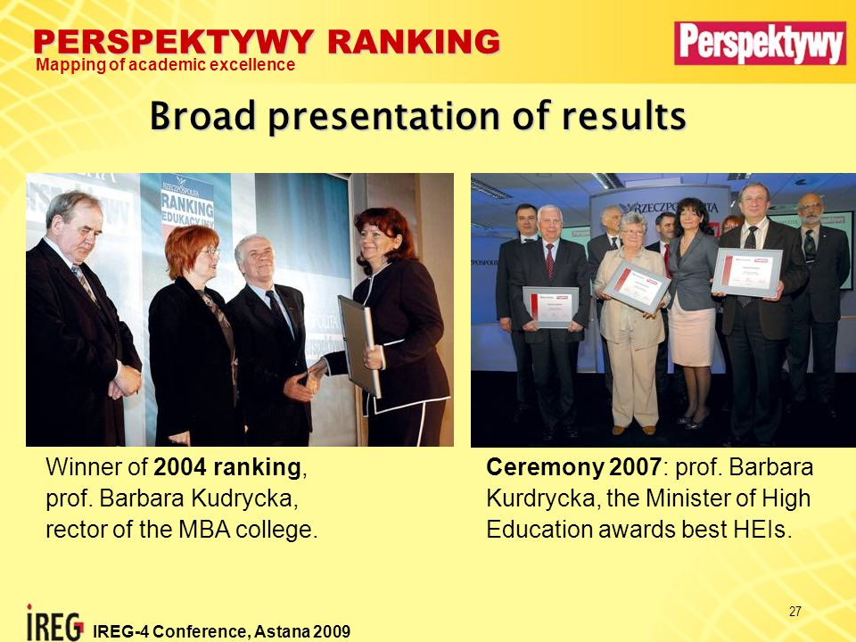 PERSPEKTYWY RANKING Mapping of academic excellence IREG-4 Conference, Astana 2009 27 Broad presentation of results Winner of 2004 ranking, prof.