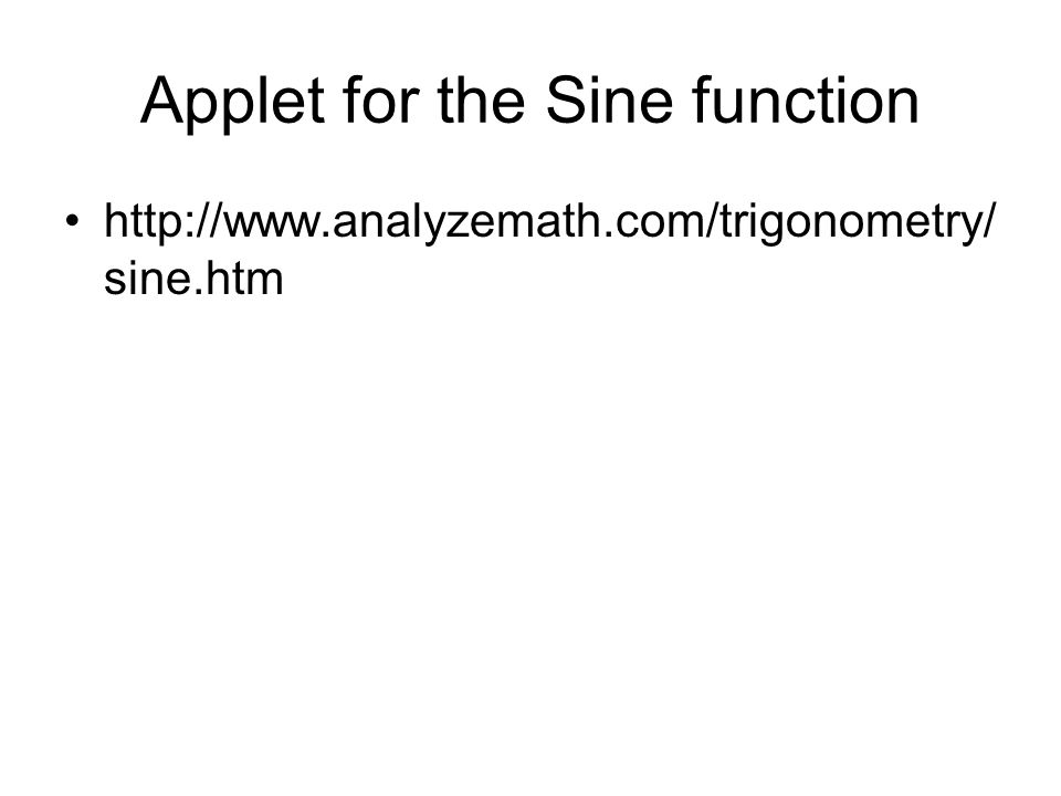 Applet for the Sine function http://www.analyzemath.com/trigonometry/ sine.htm