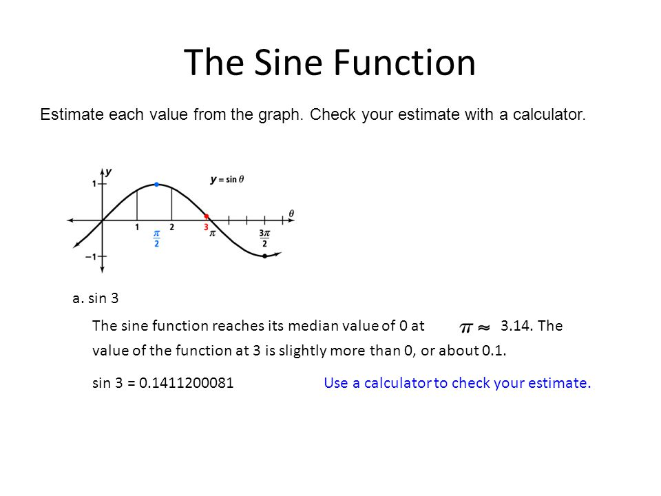 The Sine Function Estimate each value from the graph. Check your estimate with a calculator. a. sin 3 sin 3 = 0.1411200081 Use a calculator to check y