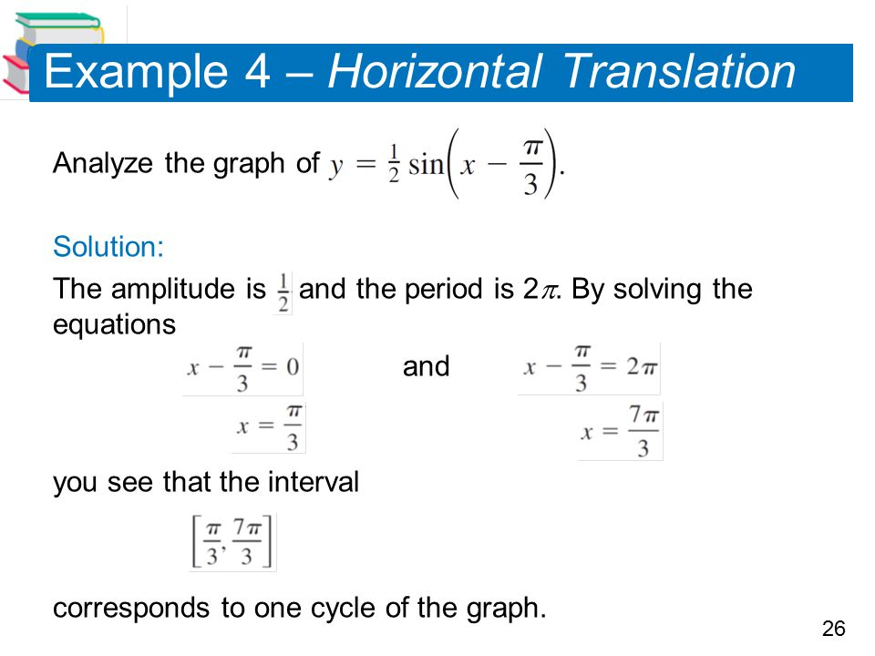 26 Example 4 – Horizontal Translation Analyze the graph of Solution: The amplitude is and the period is 2 . By solving the equations and you see that