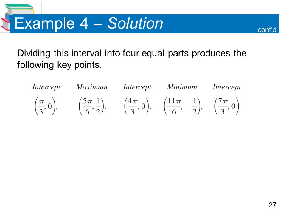 27 Example 4 – Solution Dividing this interval into four equal parts produces the following key points. cont'd