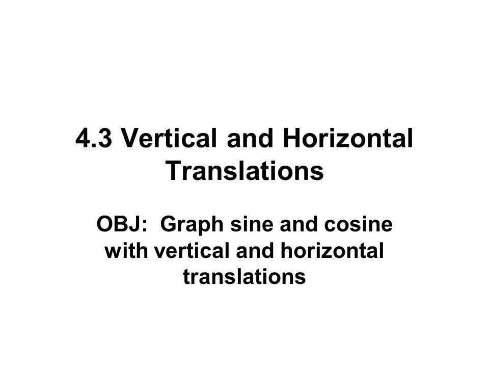 4.3 Vertical and Horizontal Translations OBJ: Graph sine and cosine with vertical and horizontal translations