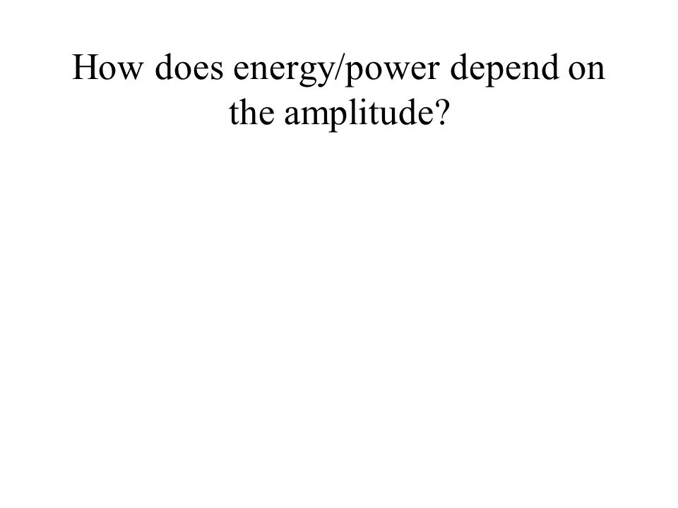How does energy/power depend on the amplitude?