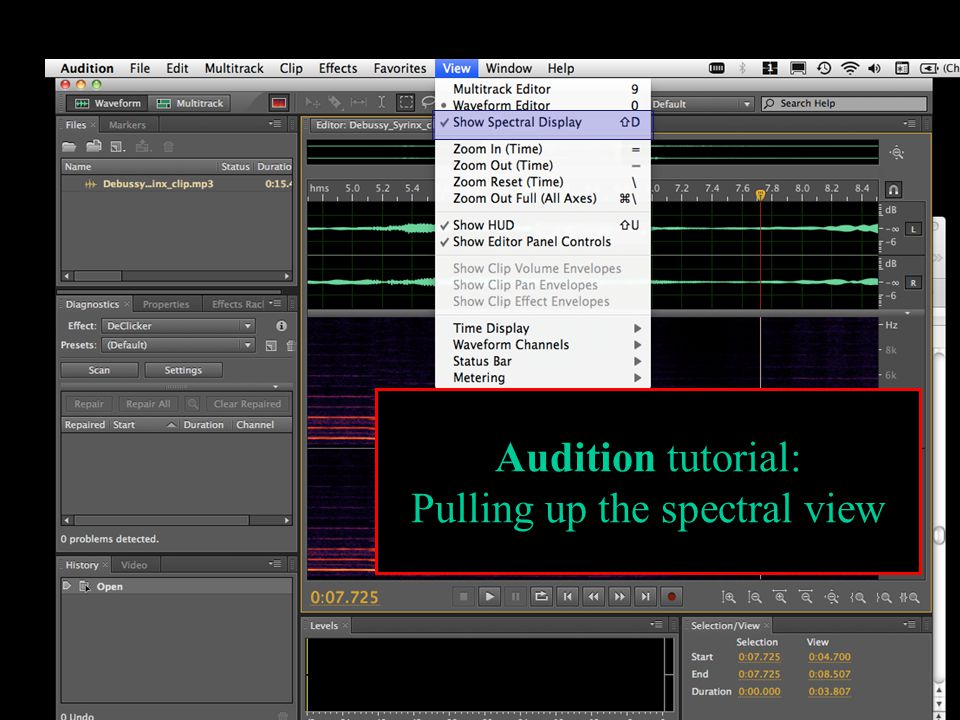 Audition tutorial: Pulling up the spectral view