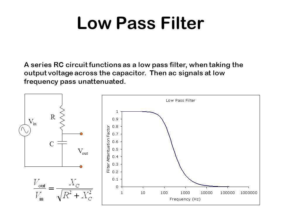 Low Pass Filter A series RC circuit functions as a low pass filter, when taking the output voltage across the capacitor. Then ac signals at low freque