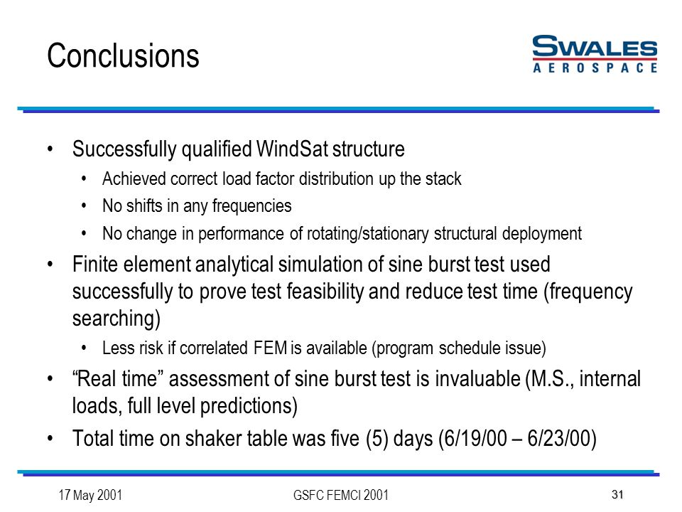 17 May 2001GSFC FEMCI 2001 31 Conclusions Successfully qualified WindSat structure Achieved correct load factor distribution up the stack No shifts in