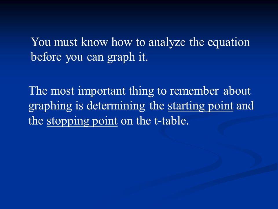 The most important thing to remember about graphing is determining the starting point and the stopping point on the t-table. You must know how to anal
