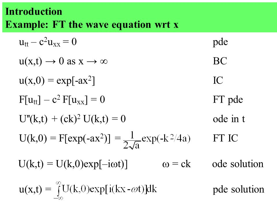 Introduction Example: FT the wave equation wrt x u tt – c 2 u xx = 0pde u(x,t) → 0 as x →  BC u(x,0) = exp[-ax 2 ]IC U(k,t) = U(k,0)exp[–i  t)]  = ckode solution F[u tt ] – c 2 F[u xx ] = 0FT pde U (k,t) + (ck) 2 U(k,t) = 0ode in t U(k,0) = F[exp(-ax 2 )] = FT IC u(x,t) = pde solution
