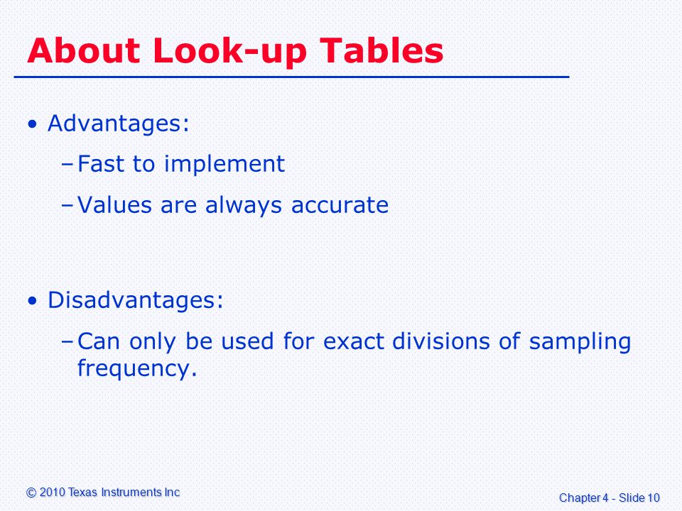 Chapter 4 - Slide 10 © 2010 Texas Instruments Inc About Look-up Tables Advantages: –Fast to implement –Values are always accurate Disadvantages: –Can only be used for exact divisions of sampling frequency.