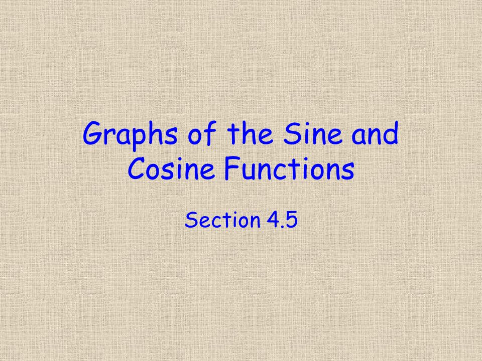 Graphs of the Sine and Cosine Functions Section 4.5