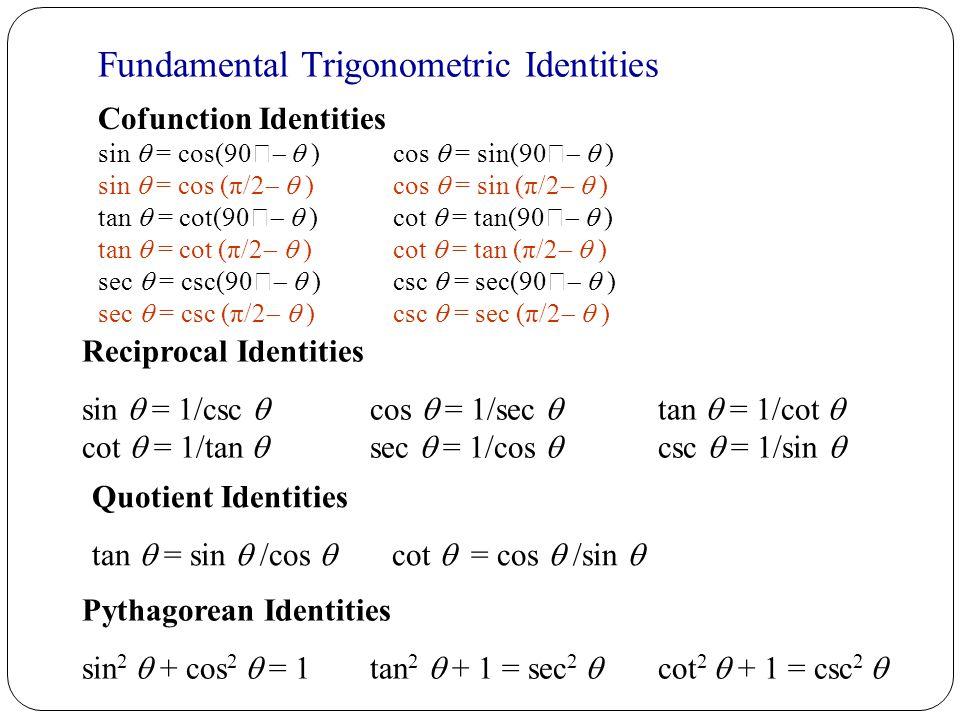 Fundamental Trigonometric Identities Cofunction Identities sin  = cos(90    ) cos  = sin(90    ) sin  = cos (π/2   ) cos  = sin (π/2   ) tan  = cot(90    ) cot  = tan(90    ) tan  = cot (π/2   ) cot  = tan (π/2   ) sec  = csc(90    ) csc  = sec(90    ) sec  = csc (π/2   ) csc  = sec (π/2   ) Reciprocal Identities sin  = 1/csc  cos  = 1/sec  tan  = 1/cot  cot  = 1/tan  sec  = 1/cos  csc  = 1/sin  Quotient Identities tan  = sin  /cos  cot  = cos  /sin  Pythagorean Identities sin 2  + cos 2  = 1 tan 2  + 1 = sec 2  cot 2  + 1 = csc 2  Fundamental Trigonometric Identities for