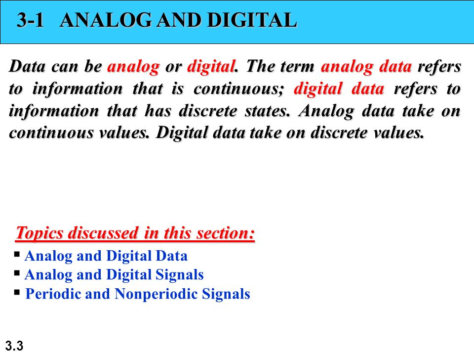 3.3 3-1 ANALOG AND DIGITAL Data can be analog or digital.