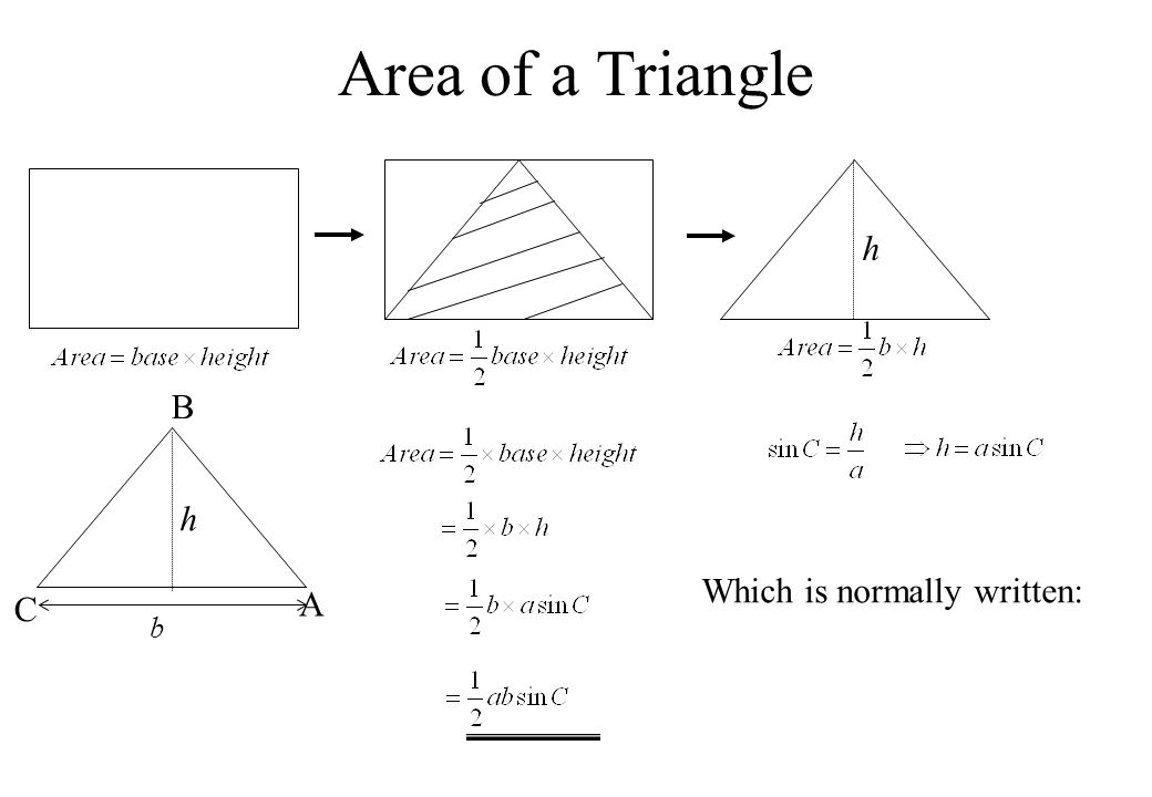 Area of a Triangle h h C A B b Which is normally written: