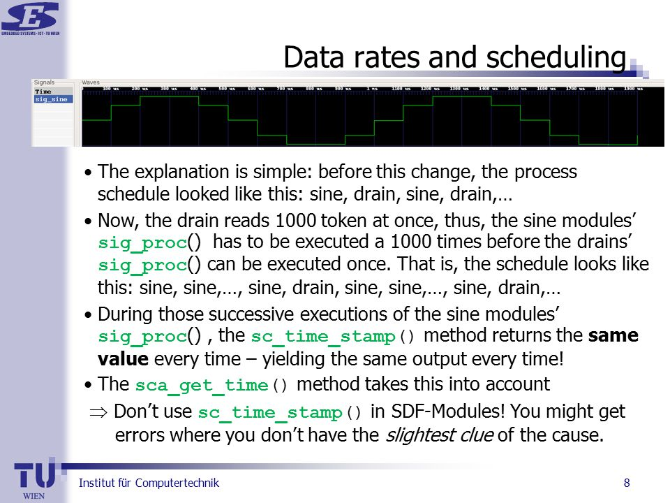 Institut für Computertechnik 8 Data rates and scheduling The explanation is simple: before this change, the process schedule looked like this: sine, drain, sine, drain,… Now, the drain reads 1000 token at once, thus, the sine modules' sig_proc () has to be executed a 1000 times before the drains' sig_proc () can be executed once.