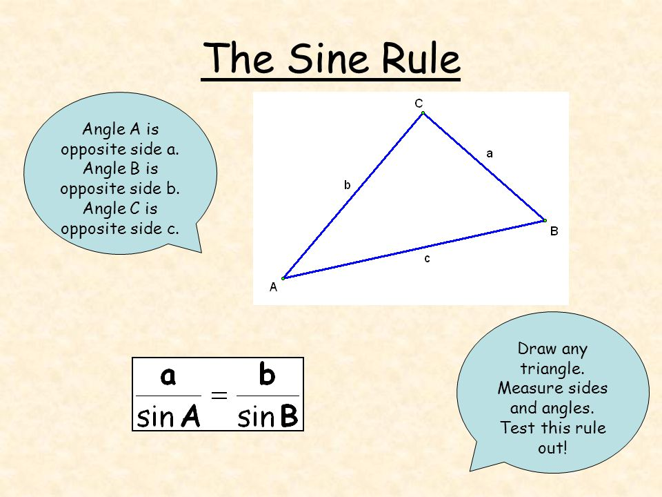 The Sine Rule Draw any triangle. Measure sides and angles.