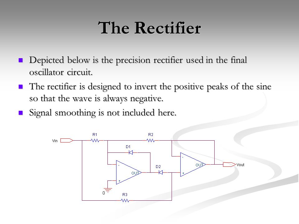 The Rectifier Depicted below is the precision rectifier used in the final oscillator circuit.