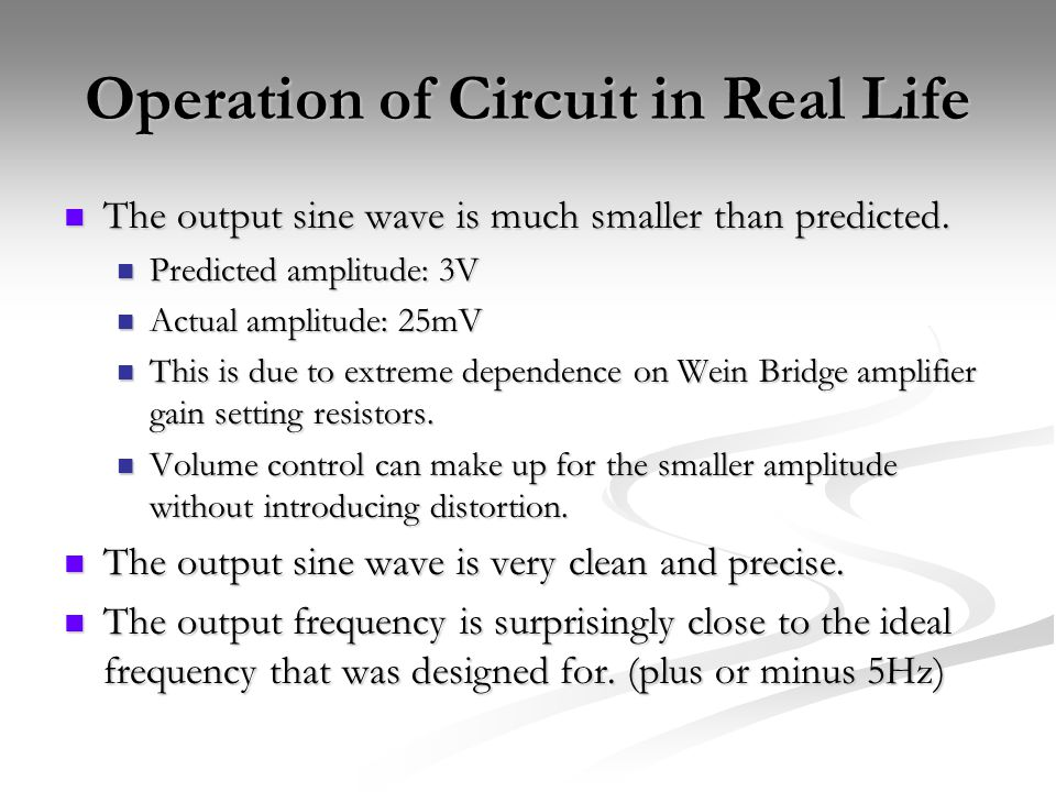 Operation of Circuit in Real Life The output sine wave is much smaller than predicted.