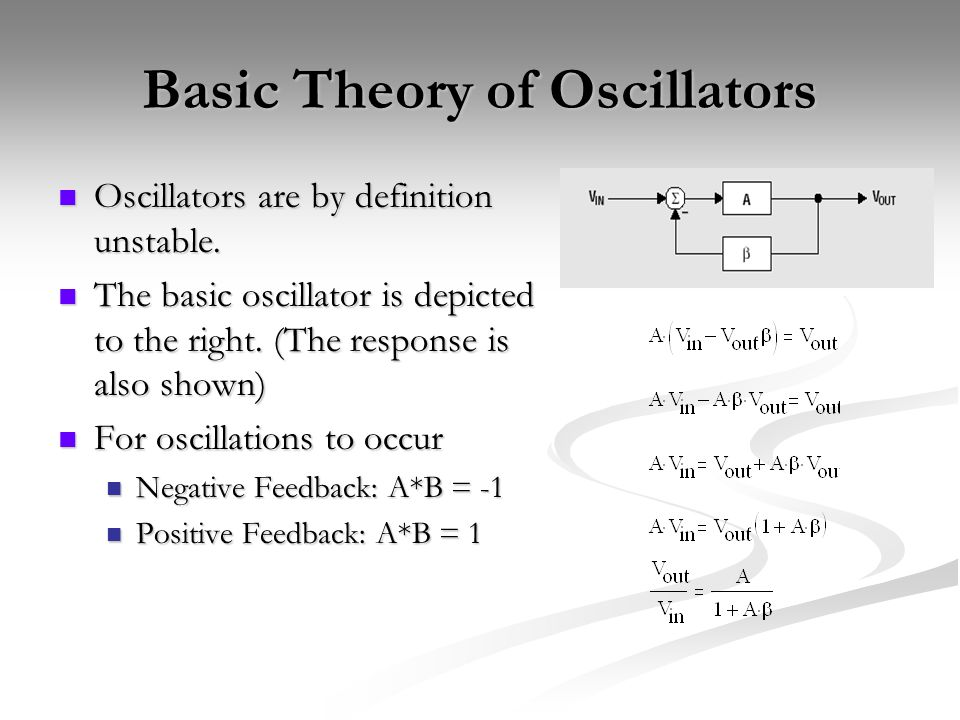Basic Theory of Oscillators Oscillators are by definition unstable.
