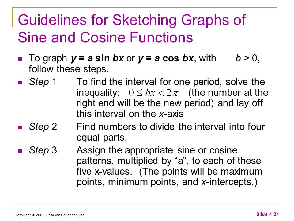 Copyright © 2005 Pearson Education, Inc. Slide 4-24 Guidelines for Sketching Graphs of Sine and Cosine Functions To graph y = a sin bx or y = a cos bx